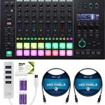 Roland MC-707 Groovebox Sequencer Bundle with AC Adapter, Silicon Power 32GB microSDHC Memory Card with Adapter, Blucoil Mini USB Type-C Hub with 4 USB Ports, and 2-Pack of 5-FT MIDI Cables
