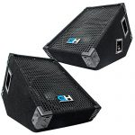 Grindhouse Speakers – GH10M-Pair – Pair of 10 Inch Passive Wedge Floor / Stage Monitors  300 Watts RMS each – PA/DJ Stage, Studio, Live Sound 10 Inch Monitor