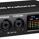 PreSonus Studio 24c 2×2 USB Type-C Audio/MIDI Interface w/Eris 3.5 Pair Studio Monitors and 1/4″ TRS to TRS Instrument Cable and LyxPro Recording Bundle 1