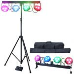 DragonX 4 Bar LED mobile DJ Stage Lighting Package/108W Portable RGB Par Can Kit Gig Spotlight Bar Set/Sound Activated Flex Wash Light Party System W/Stand