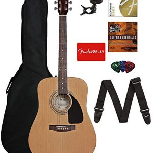 Fender Acoustic Guitar Bundle with Gig Bag, Tuner, Strings