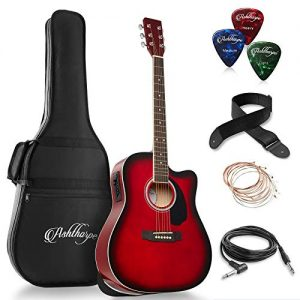 Ashthorpe Full-Size Dreadnought Cutaway Acoustic-Electric Guitar Bundle
