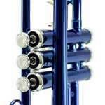 Sky Band Approved Ocean Blue Lacquer Brass Bb Trumpet with Case, Cloth, Gloves and Valve Oil, Guarantee Top Quality Sound, Blue 3