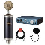 Blue Baby Bottle SL Studio Condenser Microphone with PreSonus AudioBox Recording Interface, Quad Cable & Blue The Top Windscreen Bundle