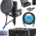 Audio-Technica AT4040 Condenser Microphone Bundle with Behringer U-PHORIA UM2 Audio Interface with 48V Phantom Power, Blucoil 10-FT Balanced XLR Cable, Pop Filter Windscreen, and 5X Cable Ties