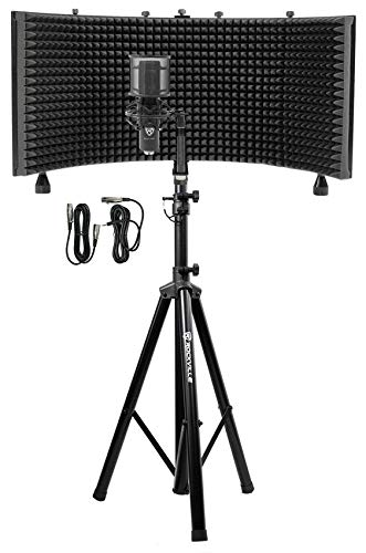 Rockville Pro Recording Studio Microphone+Isolation Shield+Mount+Filter+Stand