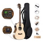 Caramel CB302 Solid Spruce Top Butterfly Bocote Baritone Acoustic & Electric Ukulele with Truss Rod Aquila Strings, Padded Gig Bag, Strap and Wall hanger