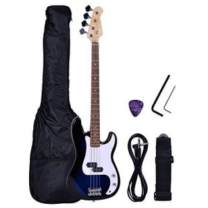Polar Aurora NEW Full Size 4 Strings Blue Electric Bass Guitar