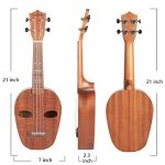 SanDona Soprano Ukulele 21 Inch Kit ET-1 | Hawaiian Carved 2 Sound Holes, Brighter Sustain, Sapele | Complete Set with Premium Nylon Strings, Digital Tuner and Gig bag | Accurate Tuning | Burlywood 2