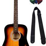 Fender FA-115 Dreadnought Acoustic Guitar – Sunburst Bundle with Hard Case, Tuner, Strings, Strap, and Picks 1