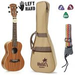 Concert Ukulele Bundle – LEFT HANDED, Deluxe Series by Hola! Music (Model HM-124LFT+), Bundle Includes: 24 Inch Mahogany Ukulele with Aquila Nylgut Strings Installed, Padded Gig Bag, Strap and Picks