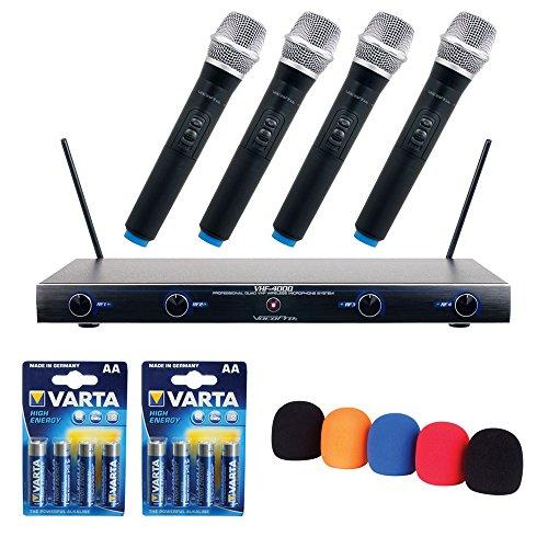 VocoPro Professional Quad VHF Wireless Microphone System