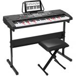 ZENY 61 Key Portable Electronic Keyboard Piano with Built in Speakers, Headphones, Microphone, Piano Stand and Stool 1