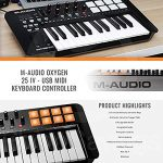 M-Audio Oxygen 25 MK IV USB Pad/MIDI Keyboard Controller with Samson Meteor Mic USB Studio Condenser Microphone and Accessory Bundle 1