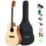 """Donner Beginner Acoustic Guitar Full Size, 41"""" Cutaway Guitar Bundle"""