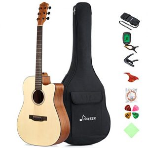 "Donner Beginner Acoustic Guitar Full Size, 41"" Cutaway Guitar Bundle"