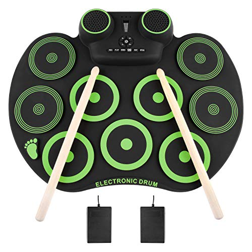 YISSVIC Electronic Drum Set Electric Drum Set 9 Drum Pads Rechargeable Battery