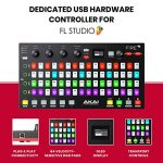 Akai Professional Fire | Performance Controller for FL Studio With Plug-And-Play USB Connectivity, 4 x 16 Velocity-Sensitive RGB Clip Matrix, OLED Display and FL Studio Fruity Fire Edition Included 1