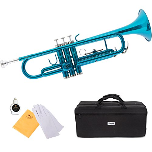 Mendini by Cecilio Sky Blue Trumpet Brass Standard Bb Trumpet, Student Beginner with Hard Case, Gloves, 7C Mouthpiece, and Valve Oil
