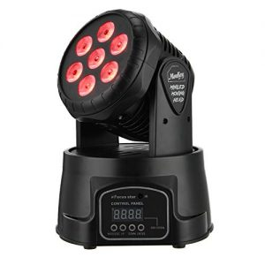 Moukey Moving Head Light, 70W LED RGBW (4 in 1) Color Strobe Lighting Effect