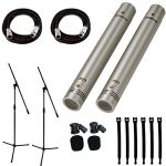 Samson C02 Pencil Condenser Microphones + 2 Mic Stands + 2 Mic Cables