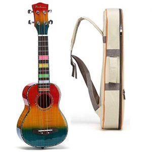 Balnna Soprano Ukulele Maple 21 inch Traditional High-gloss Rainbow Learn to Play