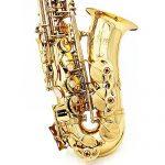 ammoon Saxophone Sax Eb Be Alto E Flat Brass Carved Pattern Set 3