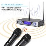 NASUM UHF Dual Channel Professional Handheld Wireless Microphone System with Dual Wireless Dynamic Microphones,LCD Display Professional Home KTV Set for Party,Meeting,Karaoke,YouTube,Classroom Black 3