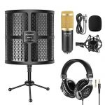 Neewer Tabletop Microphone Isolation Shield with Absorbing Foam, Conderser Microphone, Shock Mount, Tripod Stand, and Studio Monitor Headphones for Sound Recording Podcasts Singing Broadcasting etc 1