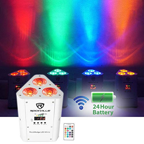 Rockville Rechargeable Wireless Wash DJ Up-Light in White