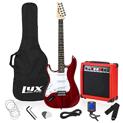 LyxPro Left Hand 39 Inch Electric Guitar and Starter Kit Bundle for Lefty Full Size