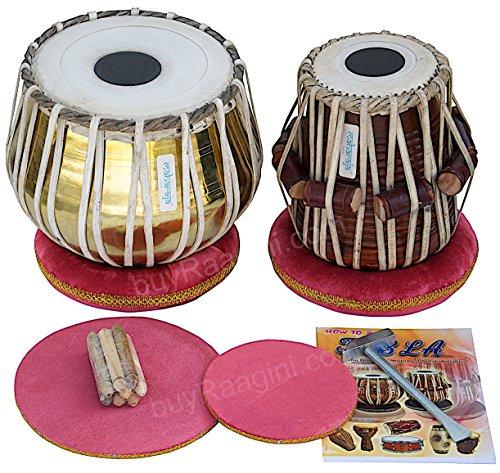 Tabla Set by Maharaja Musicals, Golden Brass Bayan 3Kg, Sheesham Dayan Tabla