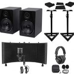"2) Rockville 8"" Active Studio Monitors+Stands+Mic+Headphones+Iso Shield"