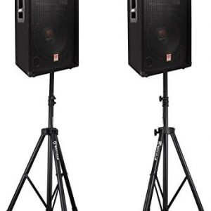 "2) Rockville 12"" 3-Way 1000w 4-Ohm Passive DJ Speakers+Stands+Cables+Bag"