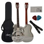 Bell Brass Cutway Electrical Parlour Resonator Guitar With Case