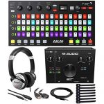 Akai Professional Fire | Performance Controller for FL Studio With Plug-And-Play USB Connectivity + M-Audio AIR 192|4-2-In 2-Out USB Audio Interface + DJ Headphones + Cables + RipTie