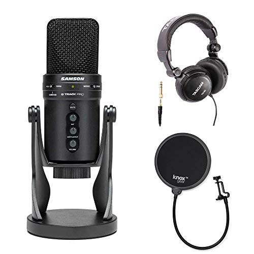 Samson G-Track Pro USB Microphone with Headphones and Knox Pop Filter