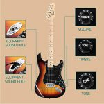 GLARRY 39″ Full Size Electric Guitar for Music Lover Beginner with 20W Amp and Accessories Pack Guitar Bag (Sunset) 1