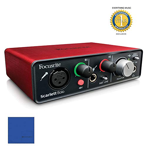 Focusrite Scarlett Solo USB Audio Interface with Red Plug-ins and 1 Year Extended