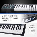 Alesis V49 49-Key USB MIDI Keyboard & Drum Pad Controller with Samson Meteor Mic USB Microphone Deluxe Bundle 1
