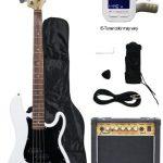 Crescent Electric Bass Guitar Starter Kit – White Color (Includes Amp & CrescentTM Digital E-Tuner) 1