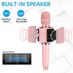 Aokeo K-1 Wireless Karaoke Bluetooth Microphone.3 in 1 Handheld Mic Karaoke Machine for Christmas Home Birthday Party for Kids and Adults.Compatible with Android & iOS Devices(Rose Gold) 1