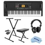 Korg EK-50 Entertainment Keyboard – Bundle With On-Stage KPK6520 Keyboard Stand/Bench Pack with Sustain Pedal, H&A Closed-Back Studio Monitor Headphones, Microfiber Cloth