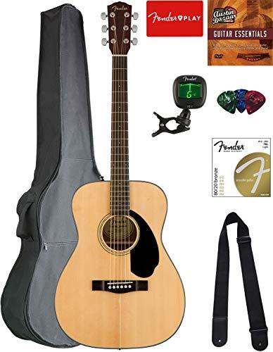 Fender Concert Acoustic Guitar - Natural Bundle with Gig Bag, Tuner, Strap
