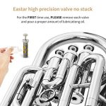 Eastar Student Bb Euphonium B Flat Nickel Plated 4-Key Piston Valve Brass with Tuner Hard Case Euphonium Mouthpiece Gloves Valve Oil Cleaning Kit, EEU-380N 3
