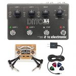 TC Electronic Ditto X4 Looper Effects Pedal Bundle with Blucoil Power Supply Slim