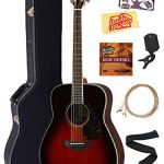 Yamaha FG830 Solid Top Folk Acoustic Guitar – Tobacco Sunburst Bundle with Hard Case, Tuner, Strings, Strap, Picks, Austin Bazaar Instructional DVD, and Polishing Cloth