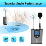 UHF Wireless Microphone System Headset Mic/Stand Mic/Lavalier Lapel Mic with Rechargeable Bodypack Transmitter & Receiver 1/4″ Output for iPhone, PA speaker, DSLR Camera, Recording, Teaching 2