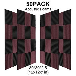 50 Pack -Black&Coffee Acoustic Panels Studio Foam Wedges
