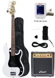 Crescent Electric Bass Guitar Starter Kit - White Color